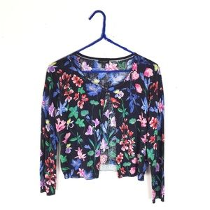 Talbots Navy Floral Print Cropped Cardigan Sweater