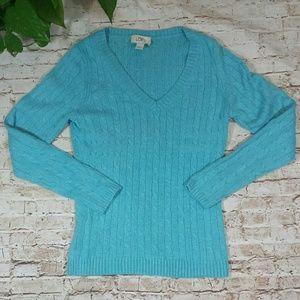 LOFT Azure Blue Soft Cable Knit Sweater