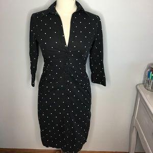 Express B&W Polka Dot Button Up Shirt Dress