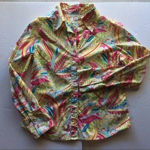 Tommy Hilfiger Size Lg Pink Yellow paisley shirt