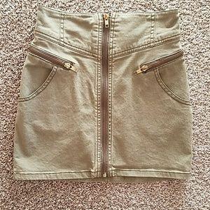 Army green high waist zip skirt