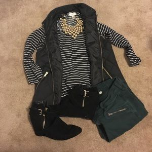 Black and white Striped Loft Blouse for fall