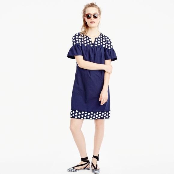 J. Crew Dresses & Skirts - J. Crew Bell Sleeve Fringe Dot Dress