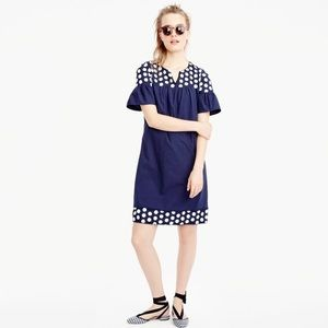 J. Crew Bell Sleeve Fringe Dot Dress