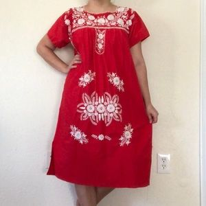 Embroidered Mexican cotton dress