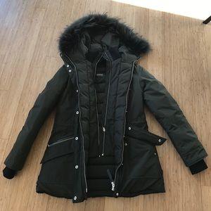 Mackage Double Zipper Olive Green Jacket Size M