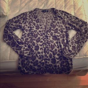 Sweaters - Animal print cardigan