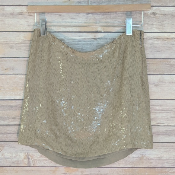 3c8fa28340 Haute hippie Gold Tan Sequin Mini Size XS