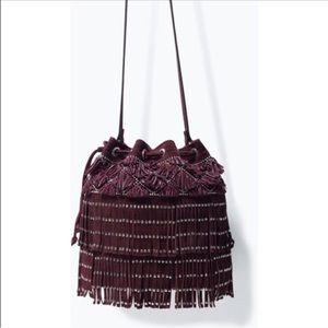 Zara suede fringe bucket bag