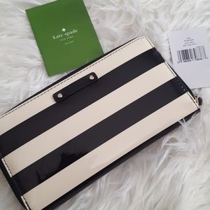 Kate Spade wallet glossy striped NEW