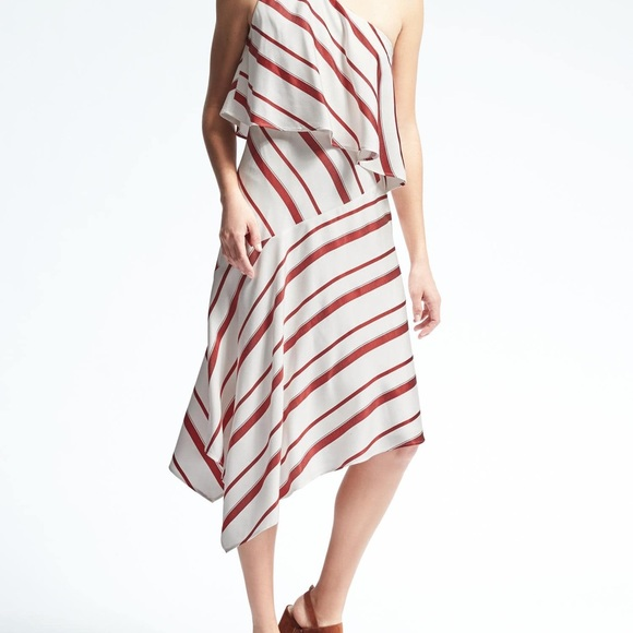 Banana Republic Dresses & Skirts - Banana Republic Stripe Layered One Shoulder Dress
