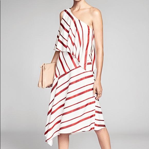 Banana Republic Dresses - Banana Republic Stripe Layered One Shoulder Dress