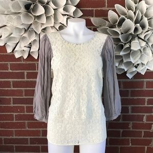 Maeve Anthro Lace LS Blouse b42