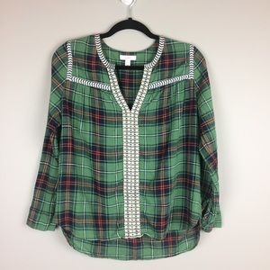 J.Crew green plaid embroidered peasant top