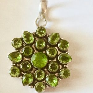 💚Vintage Peridot Sterling Silver Necklace Pendant