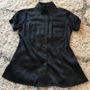 Bebe short sleeve button-down silk top small