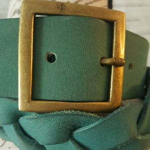 Accessories - BRAIDED LEATHER BELT in teal