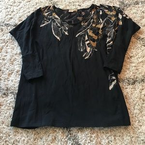 French connection black tunic with feather print