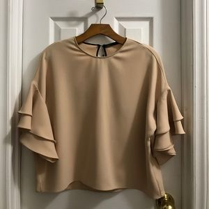 Zara Ruffle Sleeve Blouse Blush Pink Crop Top NWT