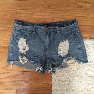 Medium Light Wash Distressed Denim Cutoff Shorts