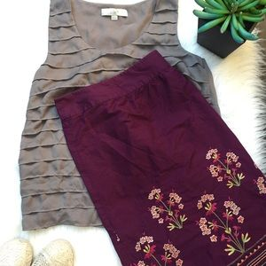 Talbots Floral Bead Embroidery A-lined Skirt 22W