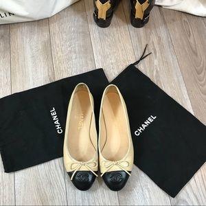 Chanel Ballet Flats. Cap Toe Logo Size 37