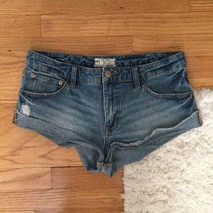 Free People Low Rise Cutoff Cuffed Denim Shorts