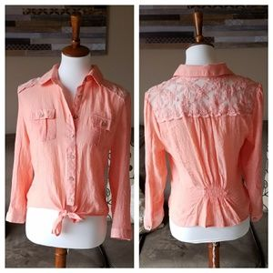 NEW Mine Coral Lace Contrast Button Up Top