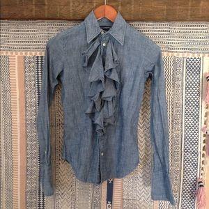 Ralph Lauren ruffled chambray shirt