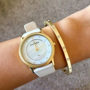 Skagen white leather gold and pearl dial watch