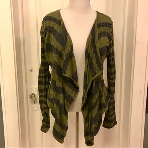 FREE PEOPLE: Green/Gray Oversized Button Cardigan