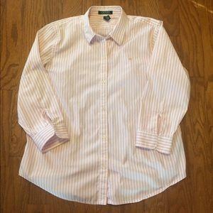 Ralph Lauren Pink/White Striped Button Up