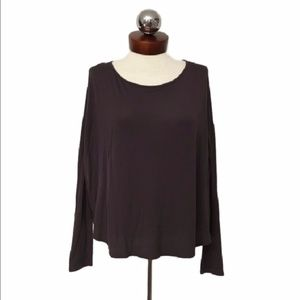 VINCE Viscose boxy oversized tee chocolate brown V
