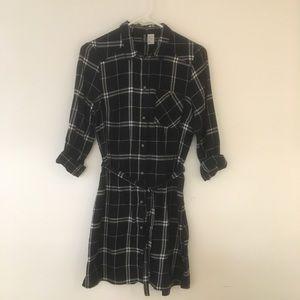 H&M black & white flannel dress