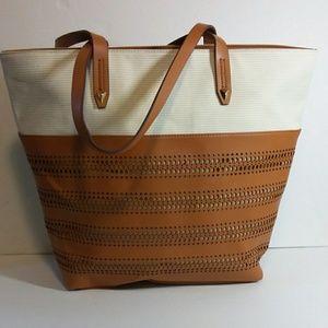 Stella & Dot Hudson Saddle & White Shoulder Bag