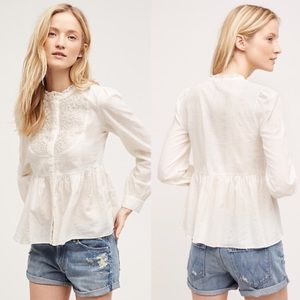 Anthropologie Floreat Embroidered Button Down Top