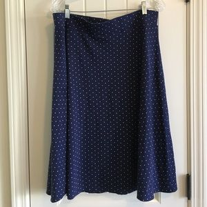 Lands End polkadot navy skirt size L 14 to 16