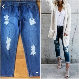 Forever 21 Distressed Jeans.  Very trendy,