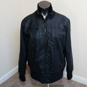 XHILARATION Faux Leather Motorcycle Jacket Black