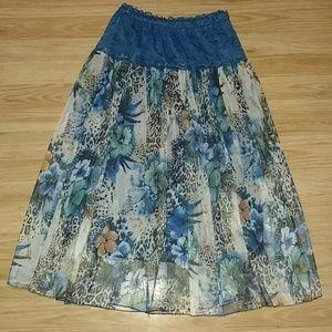 Floral and Animal Print Skirt