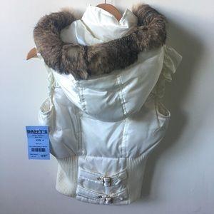 NWT Blanc Noir Faux Fur Zip-Up Vest Small