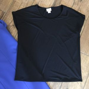 Tops - Dressy Black Top With Cap Sleeves S
