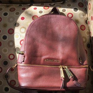 Michael Kors burgandy Medium Rhea Backpack