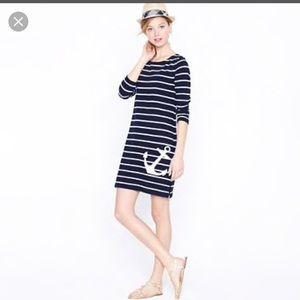 J. Crew maritime anchor striped navy dress M