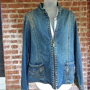 Chico's embellished denim jacket
