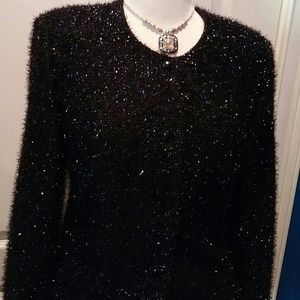 Jessica Howard Size 12 Black Shiny Evening Jacket