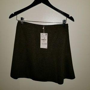 Zara circle skirt army green mini