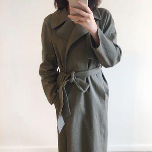 🆕 Club Monaco green wrapping long linen coat