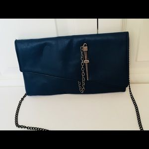 Vegan Leather Clutch with Chain Strap