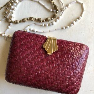 Beautiful wine-colored woven clutch evening bag
